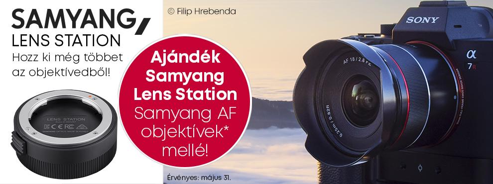 Samyang AF + ajándék Lens Station dokkoló