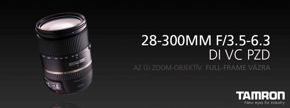 Tamron bemutatta legújabb full-frame DSLR fényképezőgépekhez gyártott nagy teljesítményű 28-300mm F/3.5-6.3 Di VC PZD Zoom-objektívét