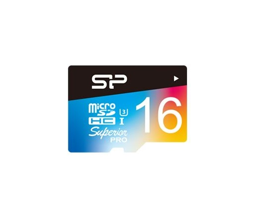 Silicon Power microSDHC Superior U3 színes 16GB