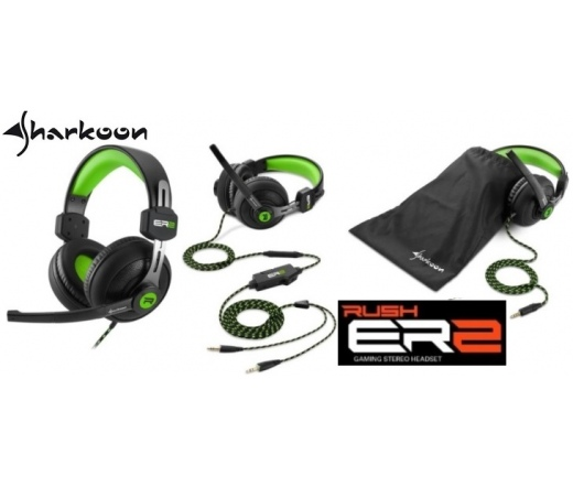 SHARKOON Rush ER2 headset zöld-fekete - 4044951018253 - Fejhallgató -  Fejhallgató 1631873840