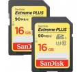SANDISK SDHC Extreme Plus 16GB  2-Pack 90MB/s. UHS